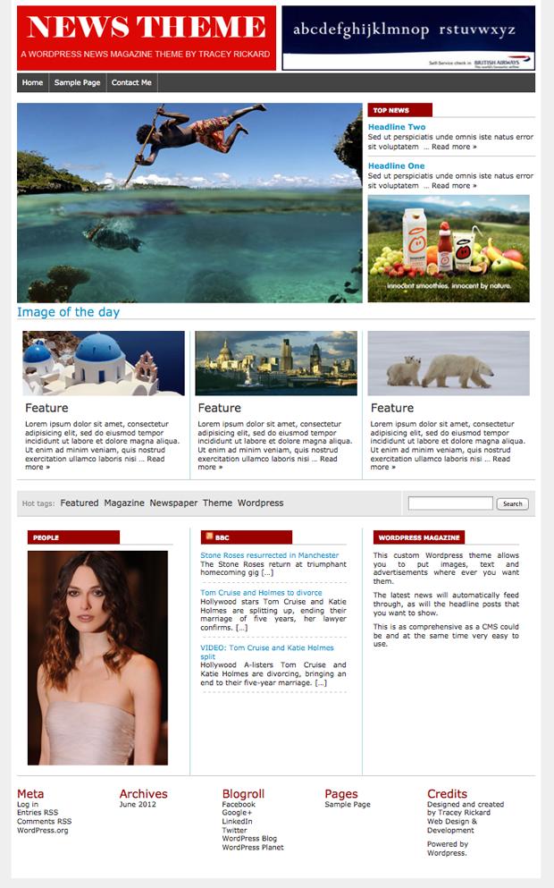 Wordpress custom theme development magazine or news theme with live content