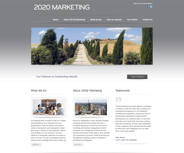 2020 Marketing brochure style website with live Twitter Feed