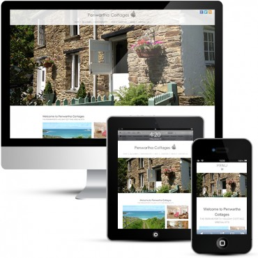 Penwartha Cottages on three screen sizes