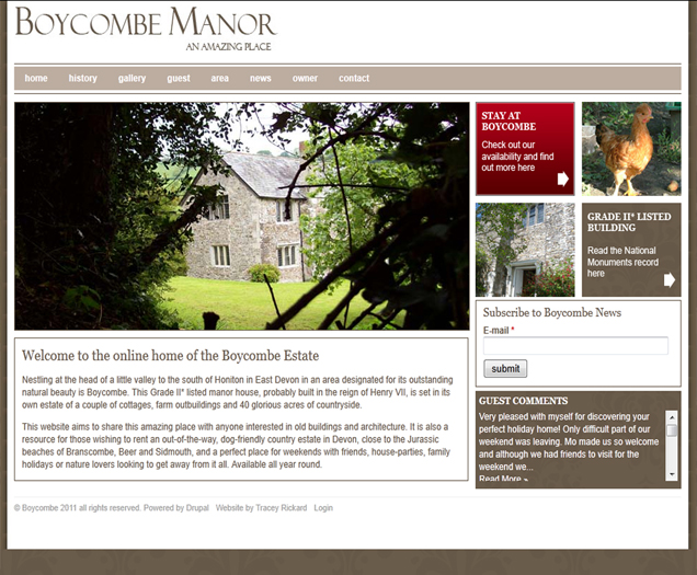 Boycombe Manor Devon Drupal Site