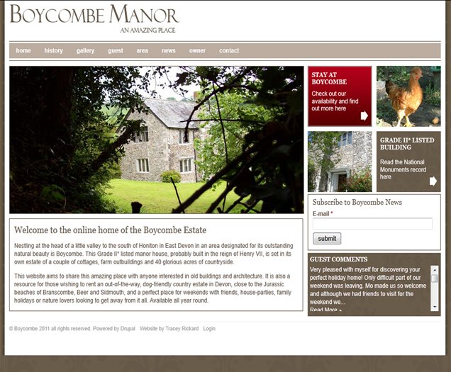 Boycombe Manor Devon CMS Website