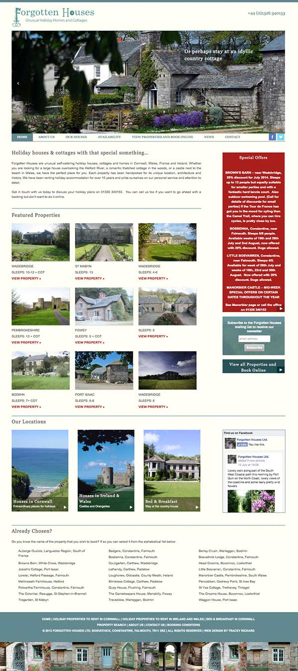 Web Design for Holiday Lettings Business, responsive design