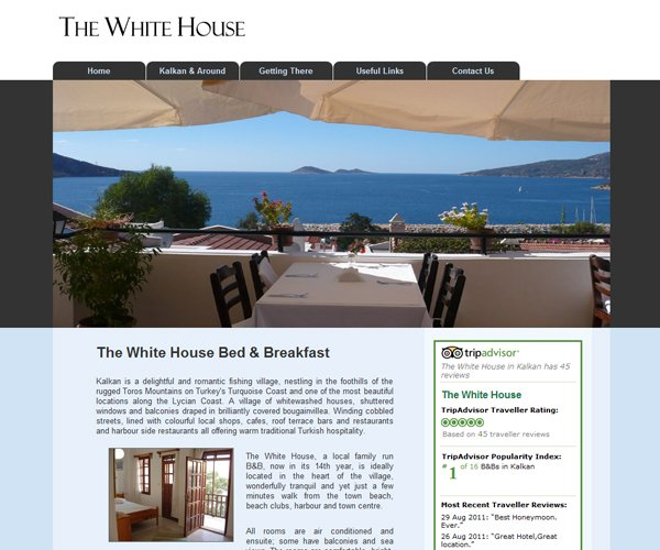 Kalkan Whitehouse Bed and Breakfast Website