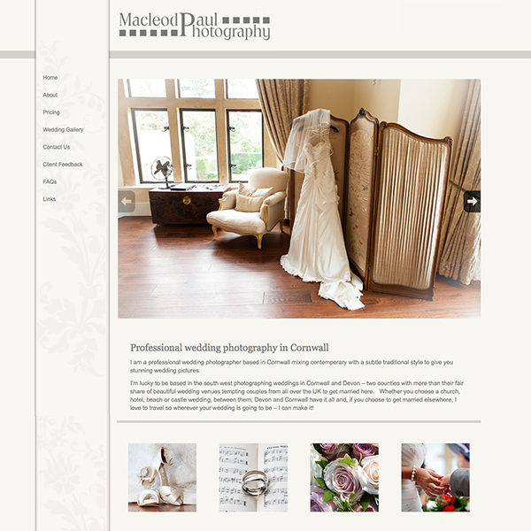 Wordpress site for wedding photographer