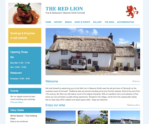 Wordpress custom web design and development for the Red Lion