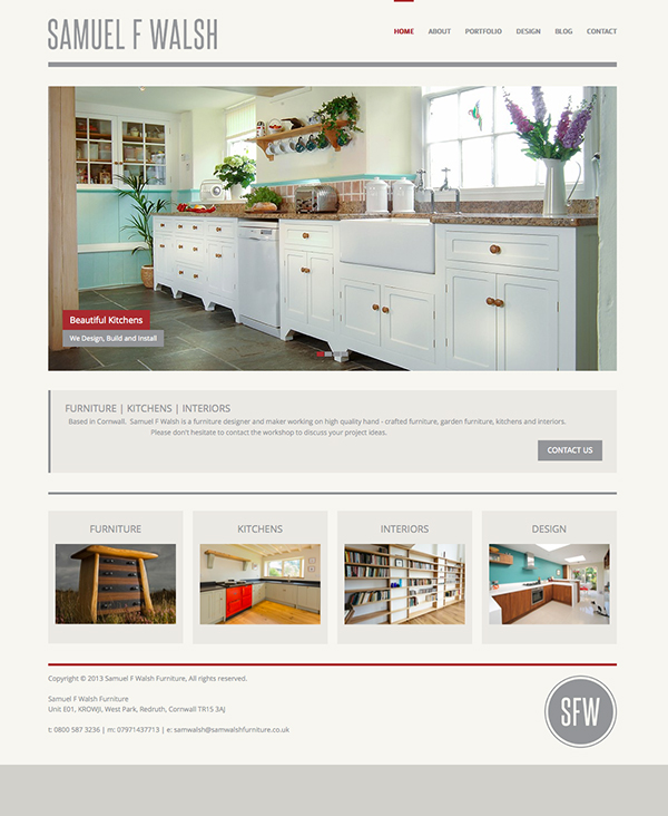 Freelance Web Designer for Sam Walsh Kitchens