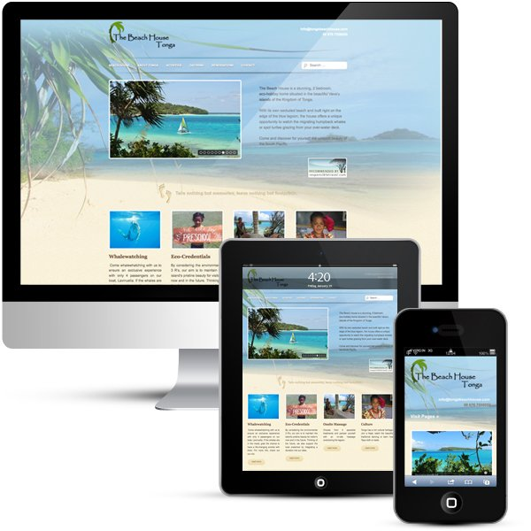 Tonga Beach House custom WordPress design