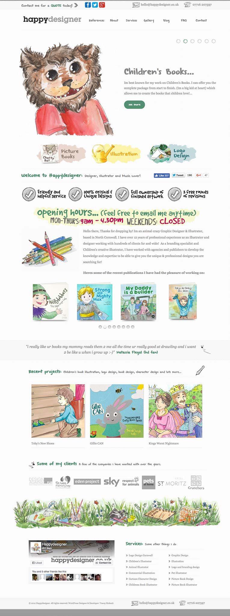 Happy Designer home page desktop version
