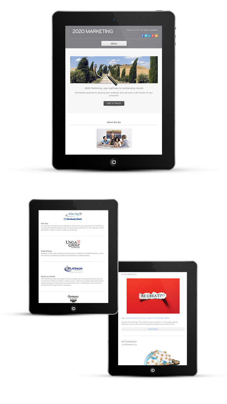 Responsive design for marketing agency, iPads