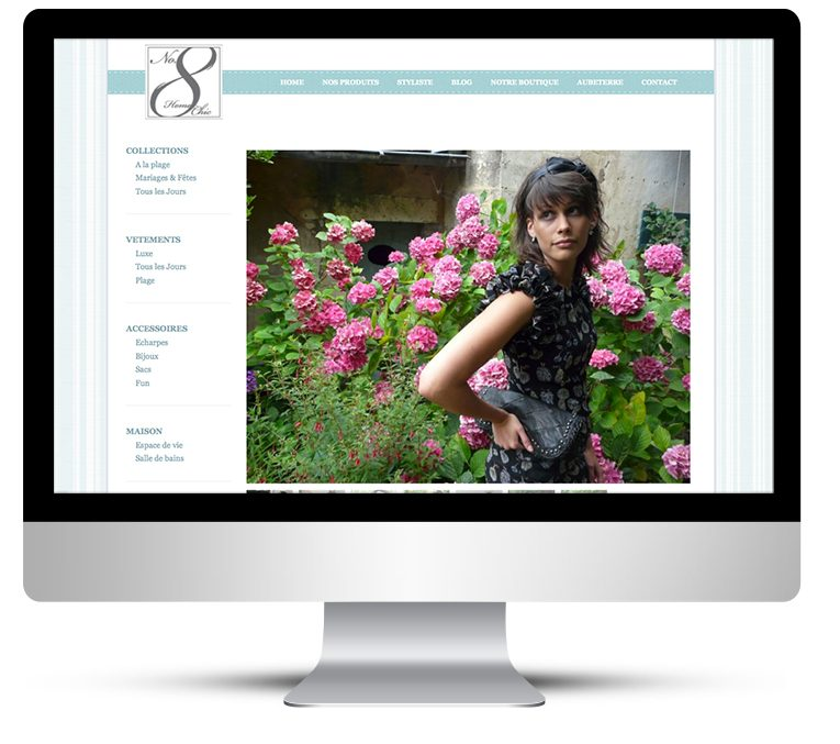 Wordpress CMS for No8 Aubeterre Homeware and fashion in France