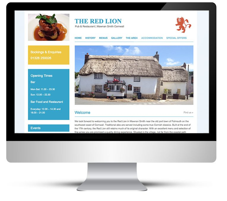 Web design and Wordpress custom theme development for the Red Lion