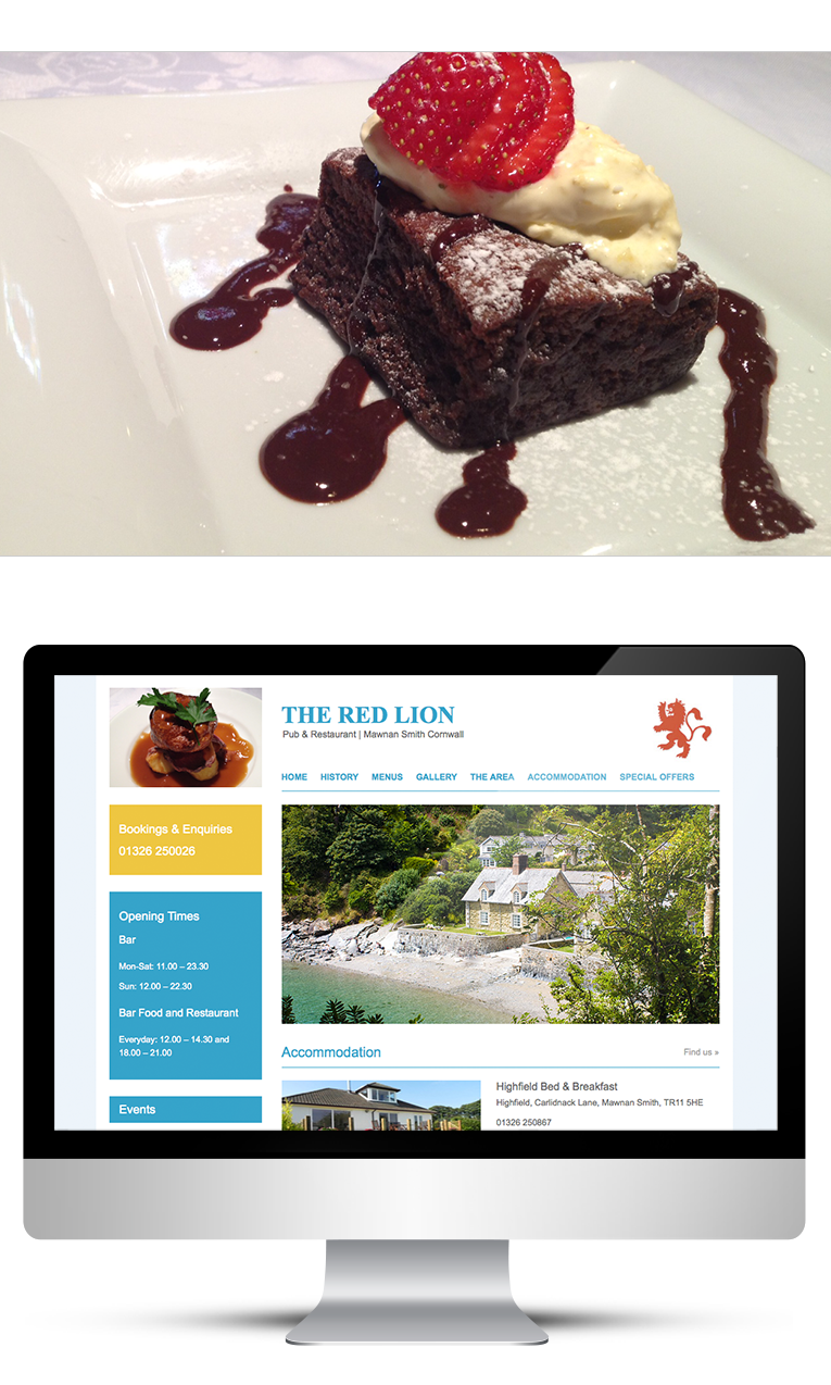 Web design for pub and restaurant Cornwall