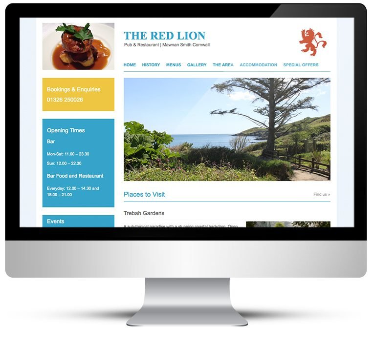 Restaurant web design by designer in Cornwall