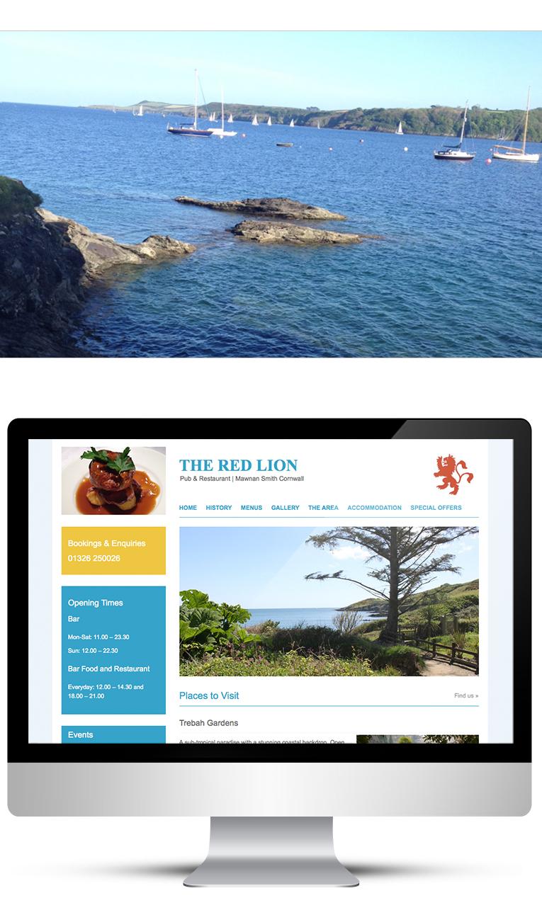 Restaurant web design by designer in Cornwall
