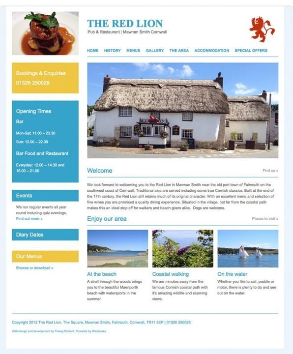CMS pub and restaurant web design Cornwall