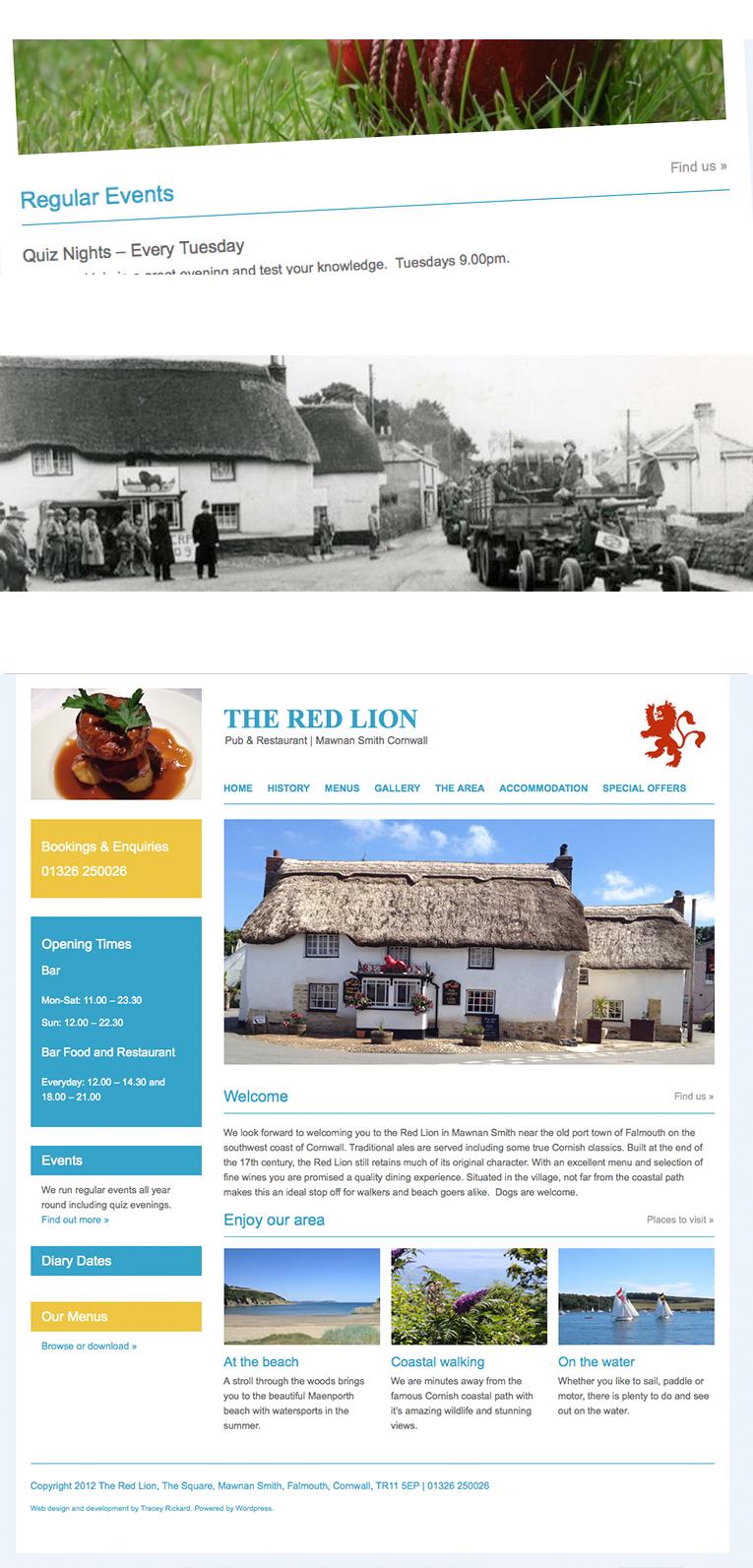 CMS pub and restaurant web design Cornwall