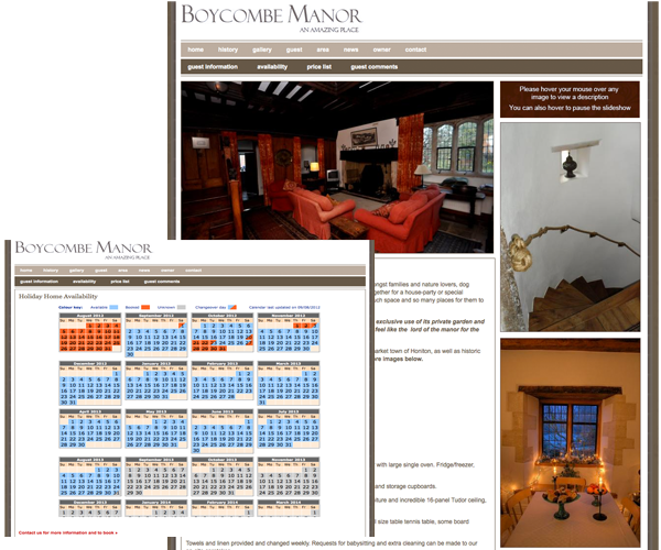 Web design for Boycombe Manor
