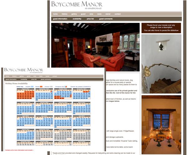 Web design for Boycombe Manor