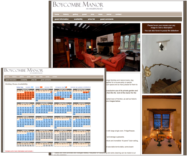 Website design for Boycombe Manor