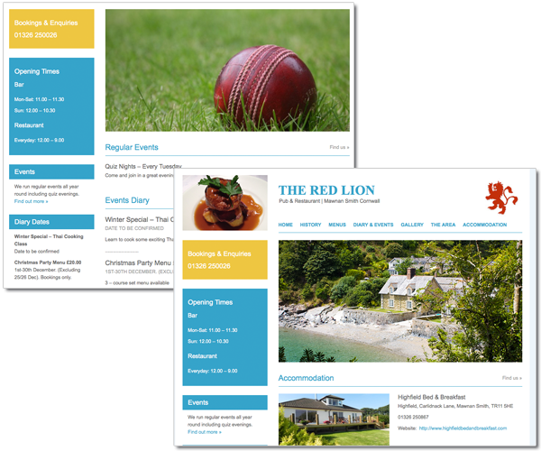 Wordpress web design for pub & restaurant
