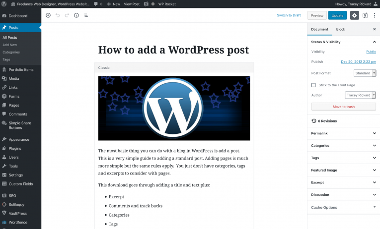 The WordPress post editor