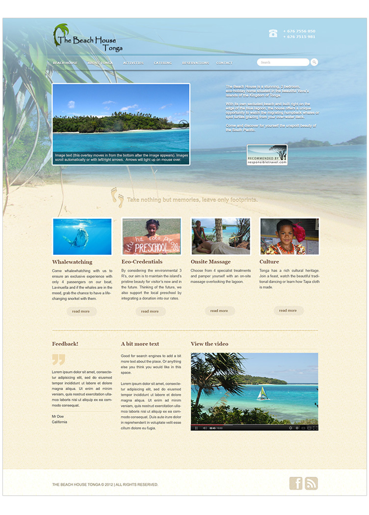 WordPress design and build for holiday homes in Tonga