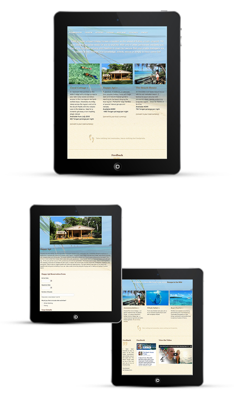 Mobile Responsive Design tablets and iPads, Tonga Beach House