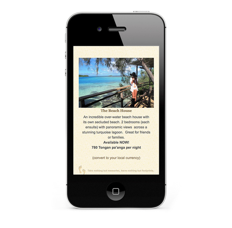 Tonga Beach House Design, smartphone and iPhone