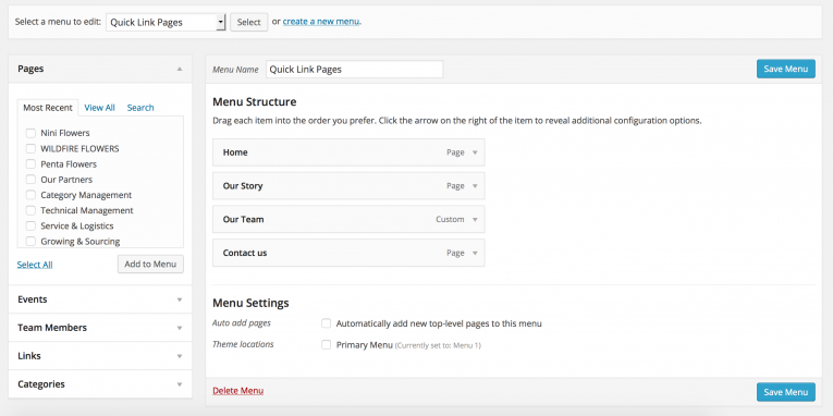 Building your WordPress Menus