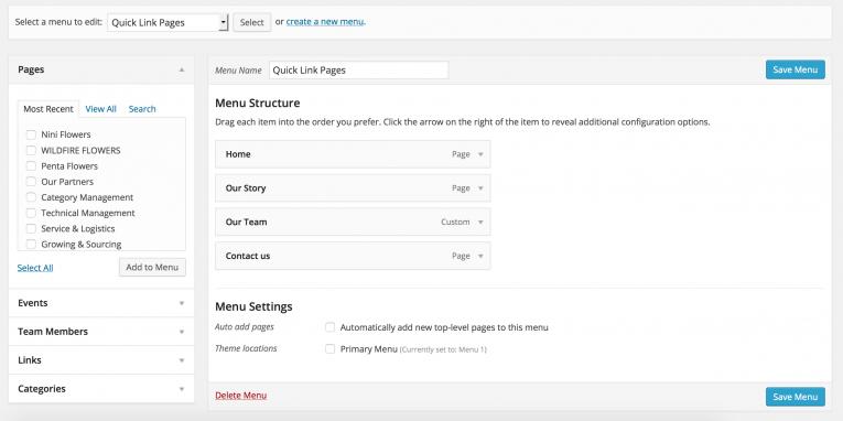 Building your WordPress Menus