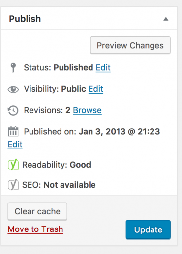 The WordPress update button