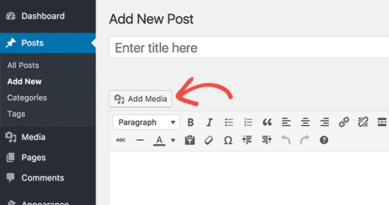 WordPress add media button