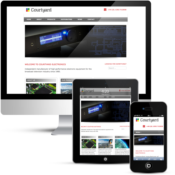 Courtyard Electronics responsive WordPress CMS & Blog design