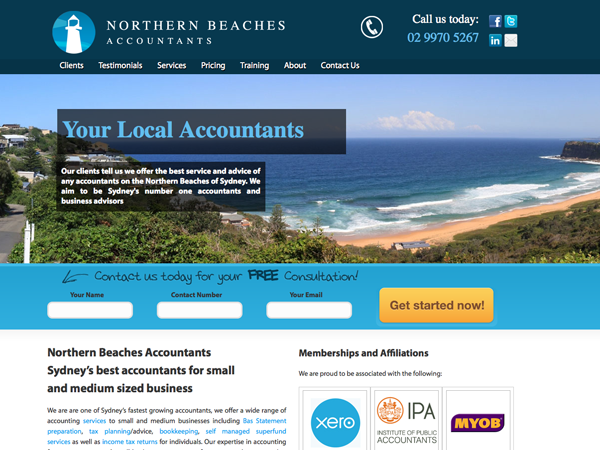 Accountants website using the location as a theme