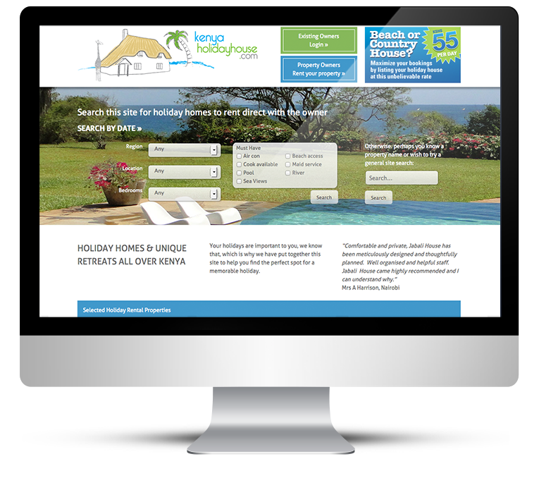 Responsive Website Design for Kenya Holiday House
