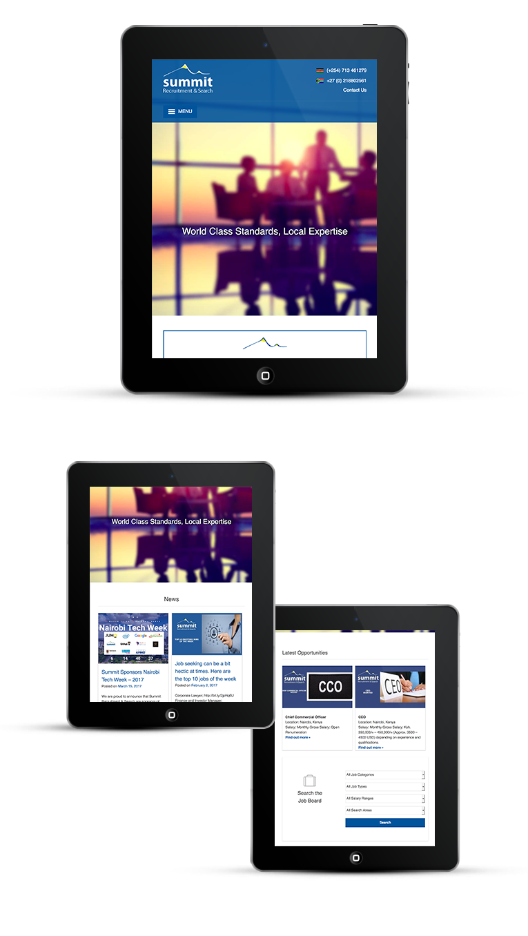 Responsive design iPads and Tablets for recruitment company