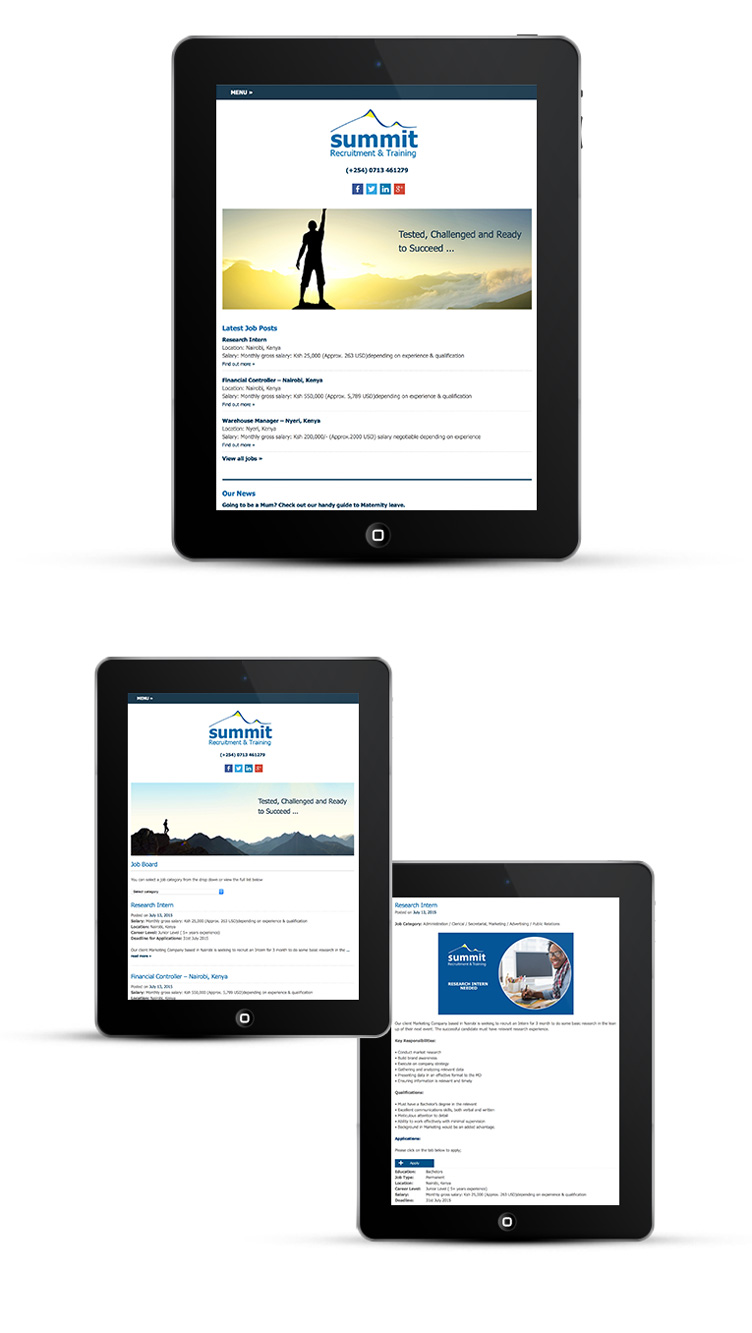 Mobile friendly webdesign for recruitment consultant