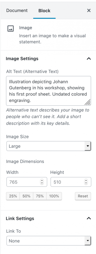 Image Block Settings