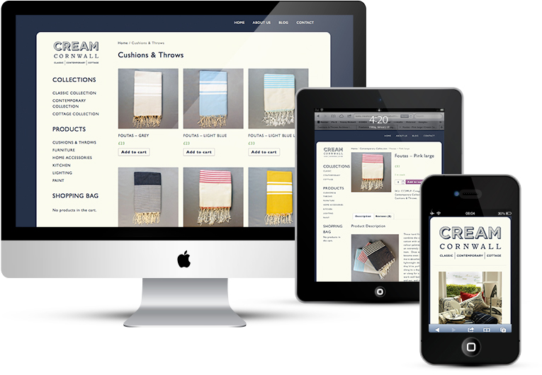 eCommerce website for Cream Cornwall