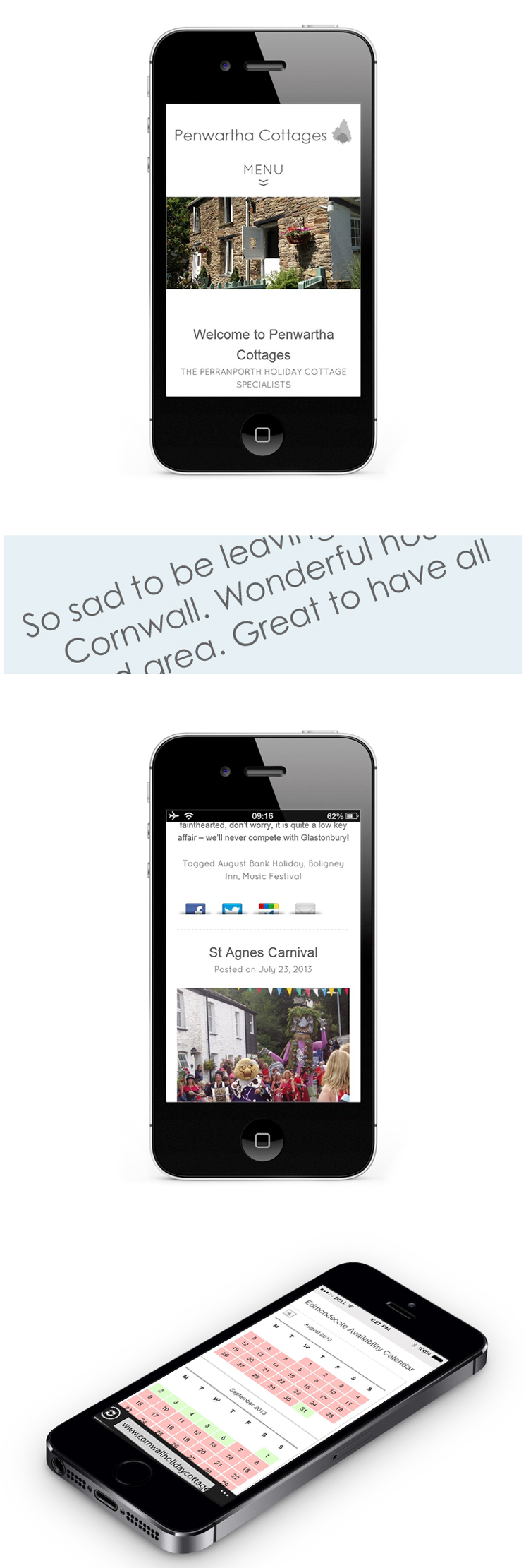 Mobile responsive website design for Penwartha Cottages