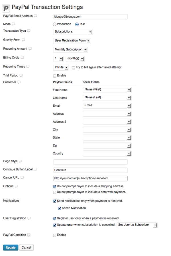 User registration form PayPal settings