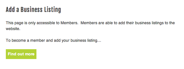 Add a listing page non-members view