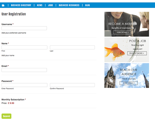 User registration form in the front end