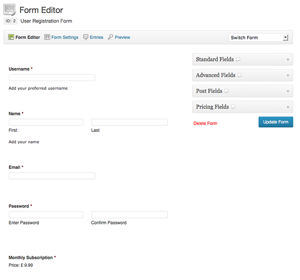User Registration Form Editing