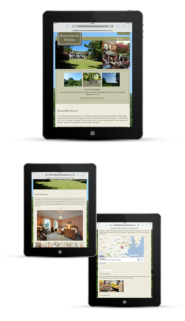 WordPress site for Bosvathick Country House by designer in Cornwall
