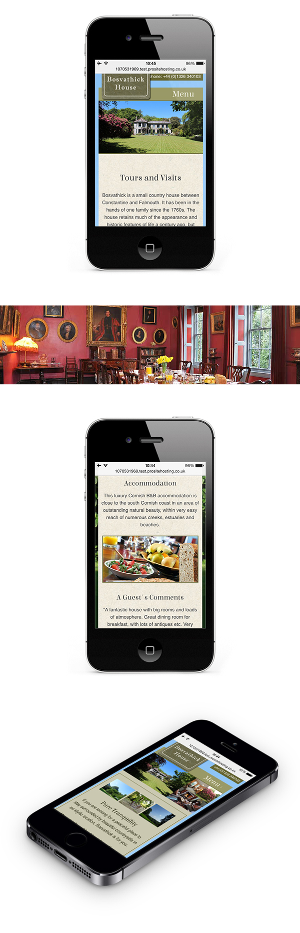 Web design with content management for Bosvathick Country House