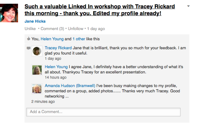 Leading Women Group feedback on LinkedIn