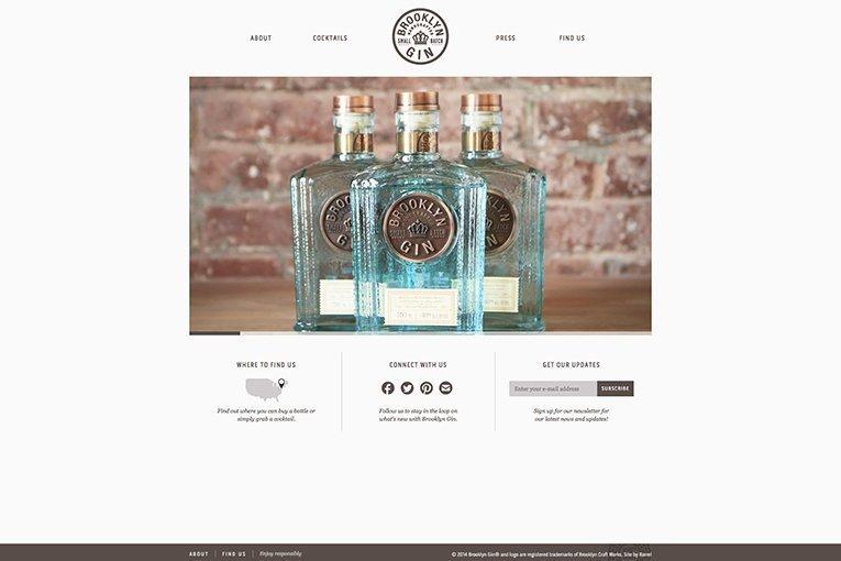 Brooklyn Gin - freelance web design showcase