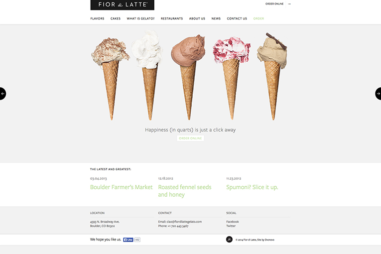 Fiordi Latte Gelato - freelance web design inspiration