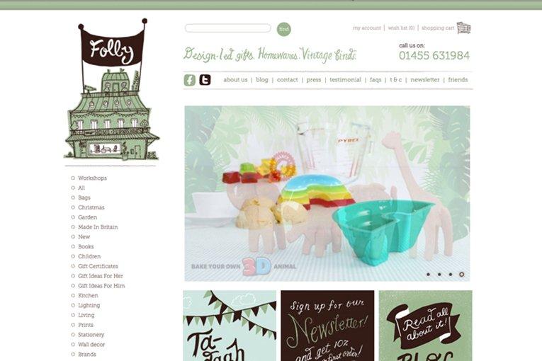 Folly Home Wares - freelance web design inspiration